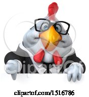 Clipart Of A 3d Chubby White Business Chicken Holding A Thumb Down On A White Background Royalty Free Illustration