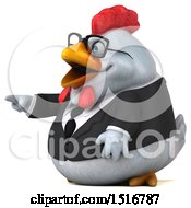 Clipart Of A 3d Chubby White Business Chicken Pointing On A White Background Royalty Free Illustration
