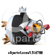 Clipart Of A 3d Chubby White Business Chicken Resting And Waving On A White Background Royalty Free Illustration
