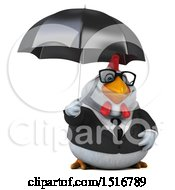 Clipart Of A 3d Chubby White Business Chicken Holding An Umbrella On A White Background Royalty Free Illustration