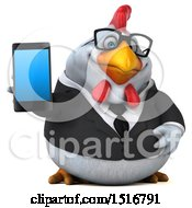 Clipart Of A 3d Chubby White Business Chicken Holding A Smart Phone On A White Background Royalty Free Illustration