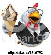 Clipart Of A 3d Chubby White Business Chicken Holding A Waffle Cone On A White Background Royalty Free Illustration