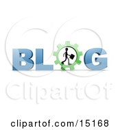 Silhouetted Businessman Carrying A Briefcase And Walking In A Cog Or Gear In Place Of The Letter O In The Word Blog Clipart Illustration by 3poD
