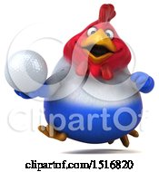 Clipart Of A 3d Chubby French Chicken Holding A Golf Ball On A White Background Royalty Free Illustration by Julos