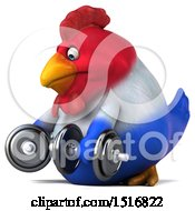 Clipart Of A 3d Chubby French Chicken Holding Dumbbells On A White Background Royalty Free Illustration by Julos