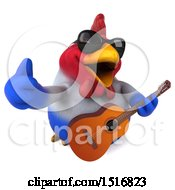 3d Chubby French Chicken Holding A Guitar On A White Background