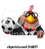 Clipart Of A 3d Chubby Brown Business Chicken Holding A Soccer Ball On A White Background Royalty Free Illustration