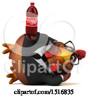 Clipart Of A 3d Chubby Brown Business Chicken Holding A Soda On A White Background Royalty Free Illustration