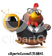 Clipart Of A 3d Chubby Brown Business Chicken Holding A Tv On A White Background Royalty Free Illustration