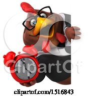 Clipart Of A 3d Chubby Brown Business Chicken Holding An Alarm Clock On A White Background Royalty Free Illustration