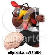 Clipart Of A 3d Chubby Brown Business Chicken Holding A Brain On A White Background Royalty Free Illustration