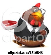 Clipart Of A 3d Chubby Brown Business Chicken Holding A Steak On A White Background Royalty Free Illustration