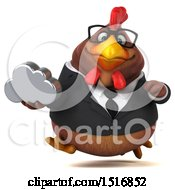 Clipart Of A 3d Chubby Brown Business Chicken Holding A Cloud On A White Background Royalty Free Illustration