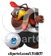 Clipart Of A 3d Chubby Brown Business Chicken Holding An Eye On A White Background Royalty Free Illustration