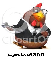 Clipart Of A 3d Chubby Brown Business Chicken Holding A Wrench On A White Background Royalty Free Illustration