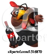 Clipart Of A 3d Chubby Brown Business Chicken Holding Wine On A White Background Royalty Free Illustration