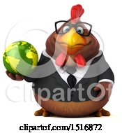 Clipart Of A 3d Chubby Brown Business Chicken Holding A Globe On A White Background Royalty Free Illustration