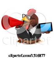 Clipart Of A 3d Chubby Brown Business Chicken Holding A Tablet On A White Background Royalty Free Illustration