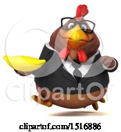 Clipart Of A 3d Chubby Brown Business Chicken Holding A Banana On A White Background Royalty Free Illustration