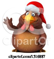 Clipart Of A 3d Chubby Brown Christmas Chicken Waving On A White Background Royalty Free Illustration