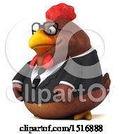 Clipart Of A 3d Chubby Brown Business Chicken On A White Background Royalty Free Illustration