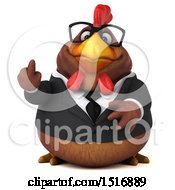 Clipart Of A 3d Chubby Brown Business Chicken Holding Up A Middle Finger On A White Background Royalty Free Illustration