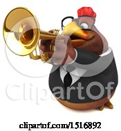 3d Chubby Brown Business Chicken Playing A Trumpet On A White Background
