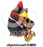 3d Chubby Brown Business Chicken Playing A Saxophone On A White Background