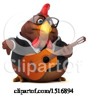 3d Chubby Brown Business Chicken With A Guitar On A White Background
