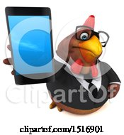 Clipart Of A 3d Chubby Brown Business Chicken Holding A Smart Phone On A White Background Royalty Free Illustration