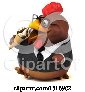 Clipart Of A 3d Chubby Brown Business Chicken Eating An Ice Cream Cone On A White Background Royalty Free Illustration