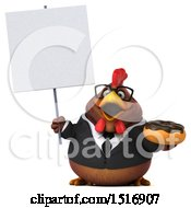 Clipart Of A 3d Chubby Brown Business Chicken Holding A Donut On A White Background Royalty Free Illustration