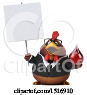Clipart Of A 3d Chubby Brown Business Chicken Holding A Blood Drop On A White Background Royalty Free Illustration