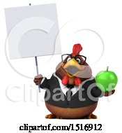 Clipart Of A 3d Chubby Brown Business Chicken Holding An Apple On A White Background Royalty Free Illustration
