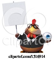 Clipart Of A 3d Chubby Brown Business Chicken Holding An Eyeball On A White Background Royalty Free Illustration