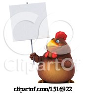 Clipart Of A 3d Chubby Brown Chicken Holding A Sign On A White Background Royalty Free Illustration