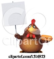 Clipart Of A 3d Chubby Brown Chicken Holding A Hot Dog And Sign On A White Background Royalty Free Illustration