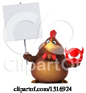 Clipart Of A 3d Chubby Brown Chicken Holding A Devil On A White Background Royalty Free Illustration