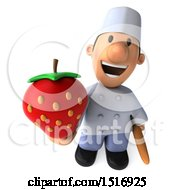 Clipart Of A 3d Short White Male Chef Holding A Strawberry On A White Background Royalty Free Illustration