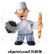 Clipart Of A 3d Short White Male Chef Holding A Blackberry On A White Background Royalty Free Illustration