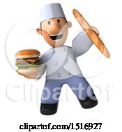 Clipart Of A 3d Short White Male Chef Holding A Burger On A White Background Royalty Free Illustration
