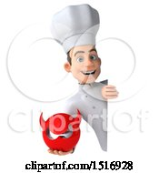 Clipart Of A 3d Short White Male Chef Holding A Devil On A White Background Royalty Free Illustration