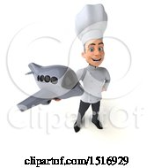 Clipart Of A 3d Short White Male Chef Holding A Plane On A White Background Royalty Free Illustration