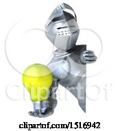 3d Armored Knight Holding A Light Bulb On A White Background