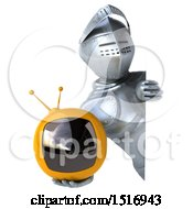 Poster, Art Print Of 3d Armored Knight Holding A Tv On A White Background