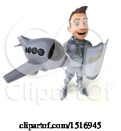 Poster, Art Print Of 3d Caucasian Male Armored Knight Holding A Plane On A White Background