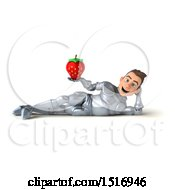 Poster, Art Print Of 3d Caucasian Male Armored Knight Holding A Strawberry On A White Background