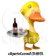 3d Yellow Duck Holding A Wine Tray On A White Background