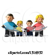 Clipart Of A 3d Casual White Family With A Dog And Tablets On A White Background Royalty Free Illustration