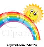 Clipart Of A Sun Character And Rainbow Royalty Free Vector Illustration